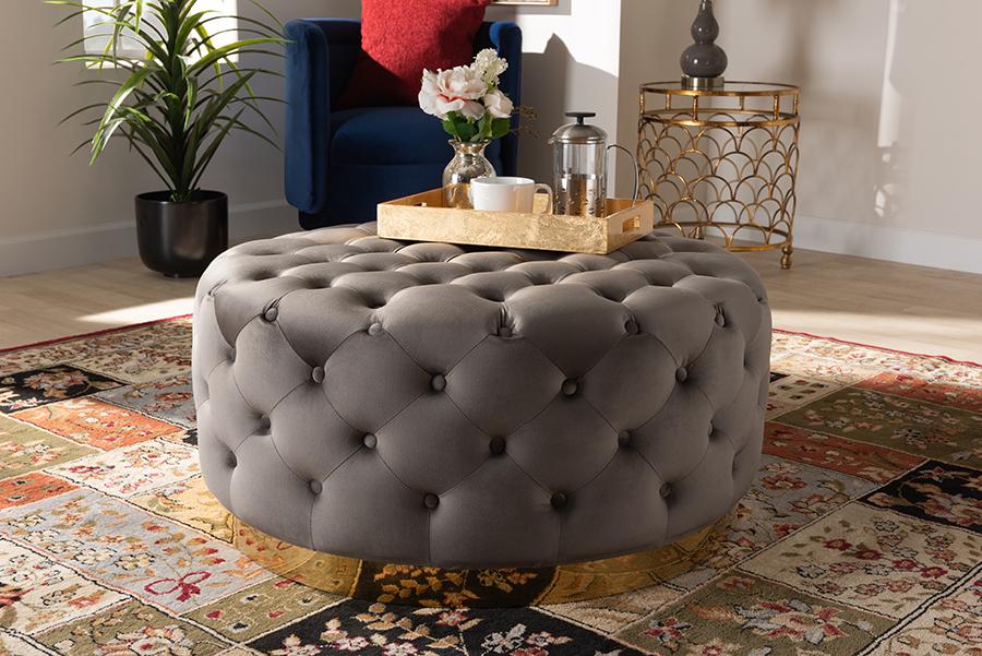 Sasha Grey Velvet Fabric Gold Round Cocktail Ottoman | Baxton Studio