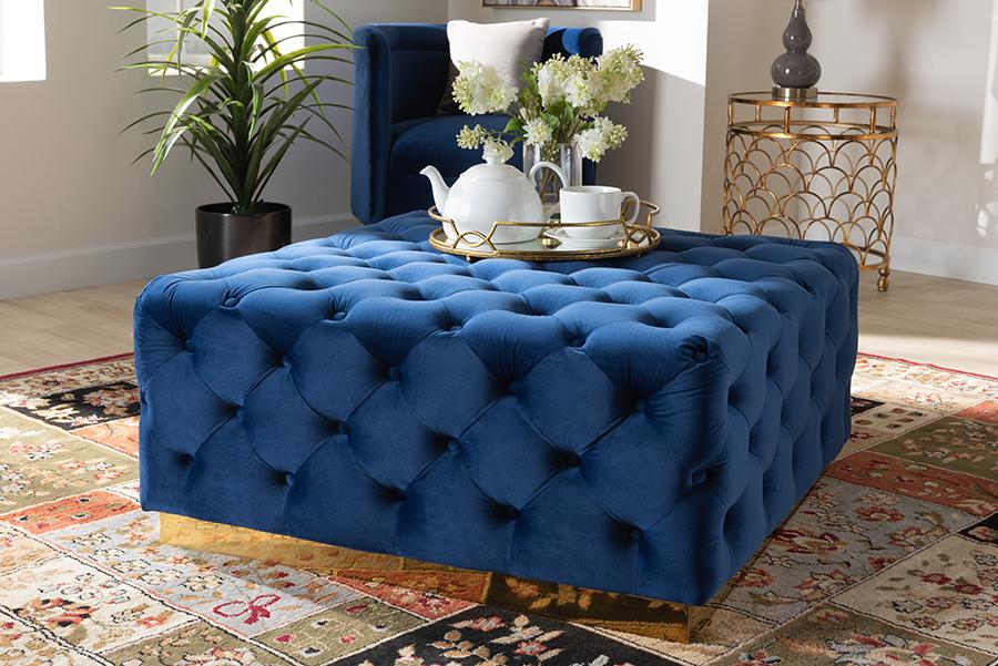 Verene Royal Blue Velvet Fabric Gold Square Cocktail Ottoman | Baxton Studio