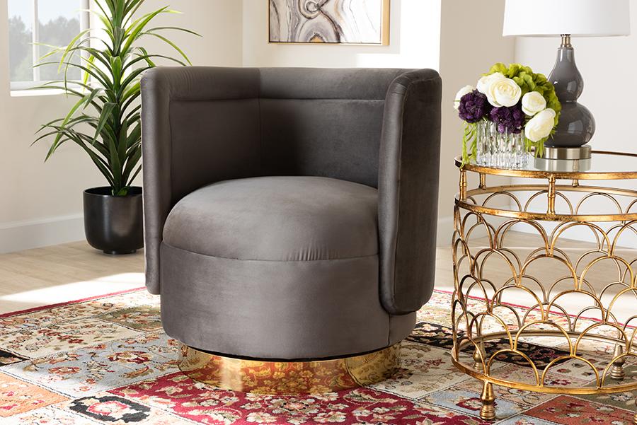 Saffi Grey Velvet Fabric Gold Swivel Accent Chair | Baxton Studio