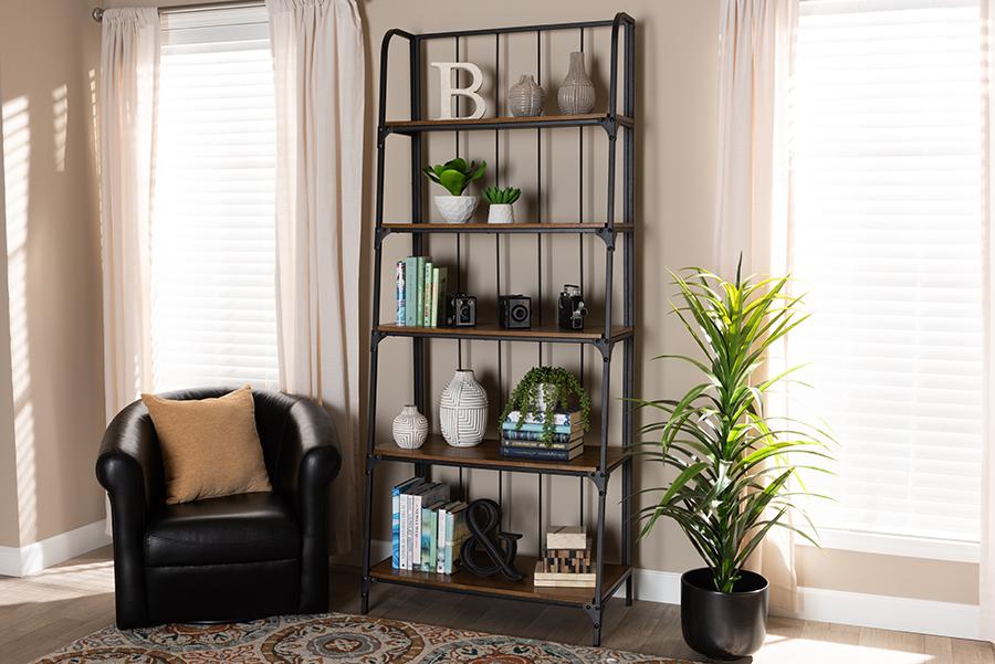 Ceren Wood Black Metal 5 Tier Living Room Ladder Shelf | Baxton Studio