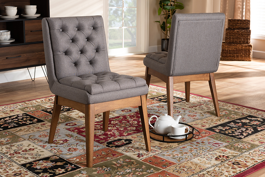 Makar Grey Fabric Walnut Wood 2-pc Dining Chair Set Set | Baxton Studio