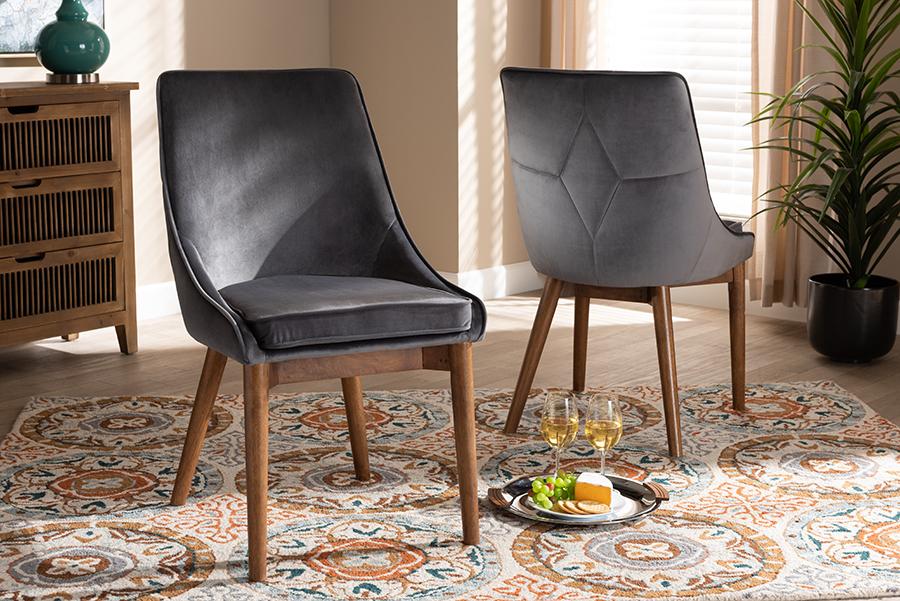 Gilmore Grey Velvet Fabric Walnut Wood 2-pc Dining Chair Set Set | Baxton Studio