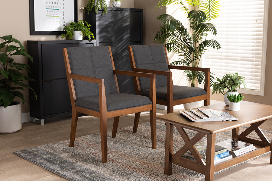 Theresa Dark Grey Walnut 2-pc Chair Set | Baxton Studio
