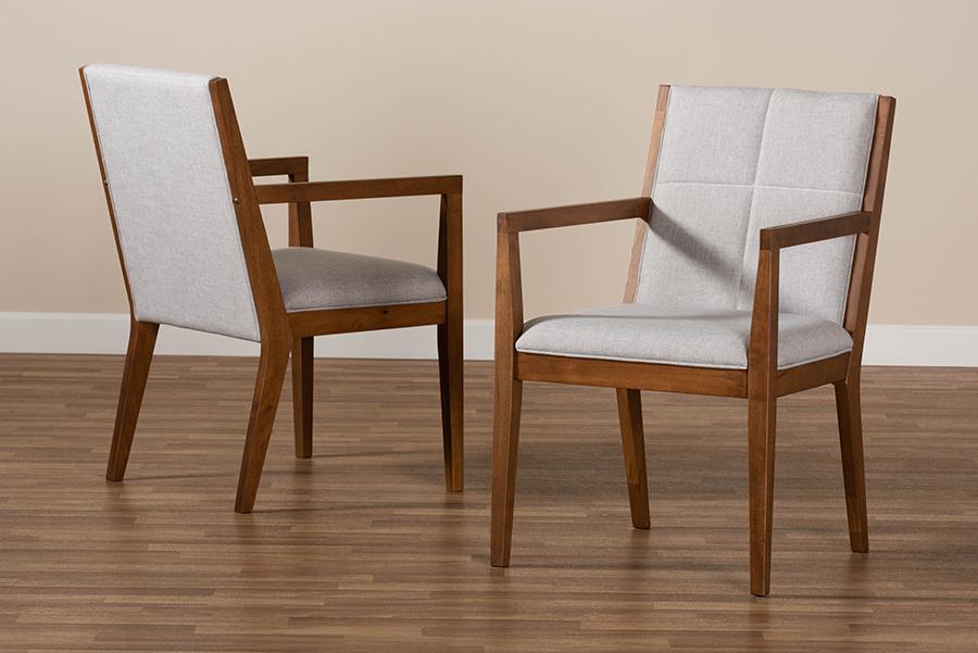 Theresa Beige Walnut 2-pc Chair Set | Baxton Studio