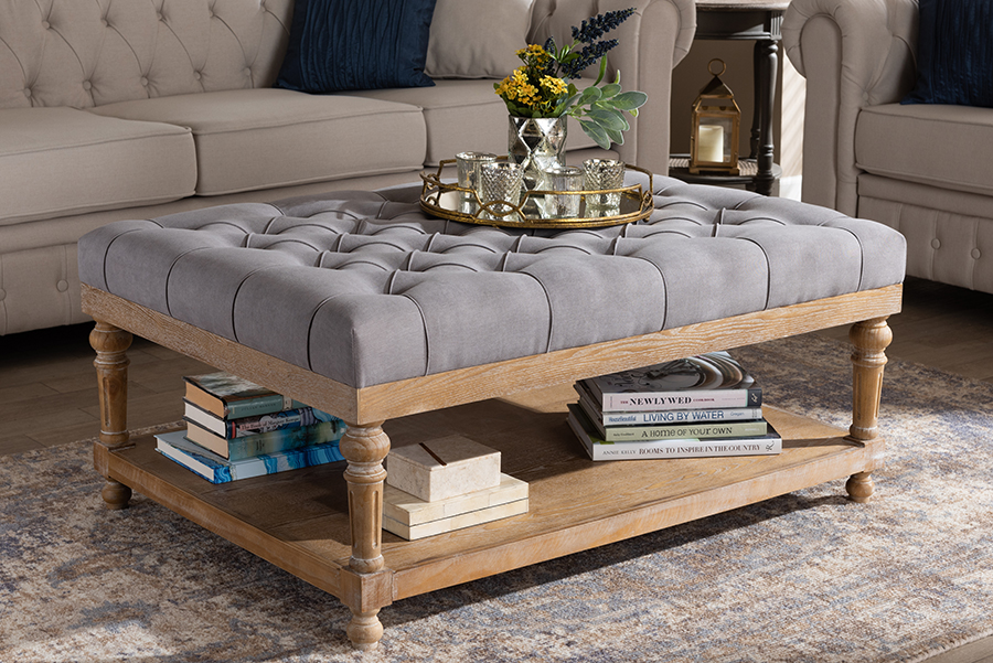 Lindsey Grey Linen Fabric Greywashed Wood Cocktail Ottoman | Baxton Studio