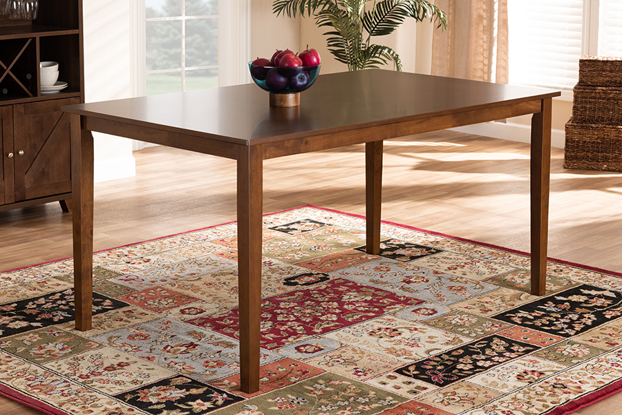 Eveline Walnut Brown Rectangular Wood Dining Table | Baxton Studio