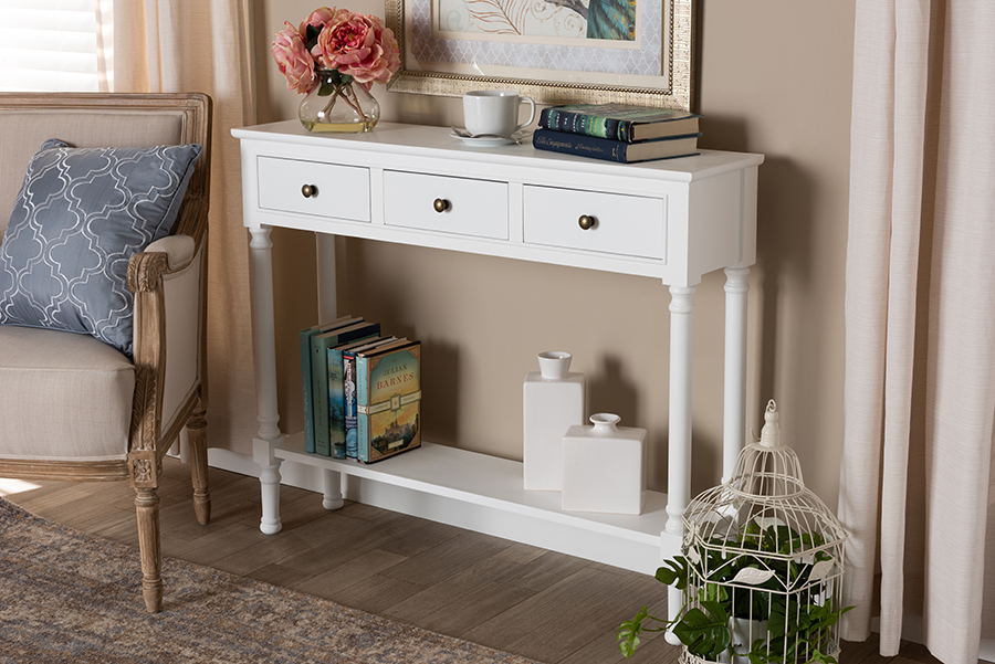 Calvin White Wood 3 Drawer Console Table   Baxton Studio