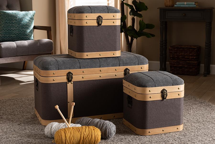 Clarence Dark Grey Dark Brown Fabric Oak Brown 3-pc Storage Ottoman Trunk Set | Baxton Studio