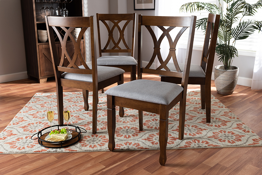 Augustine Grey Fabric Walnut Wood 4-pc Dining Chair Set Set | Baxton Studio