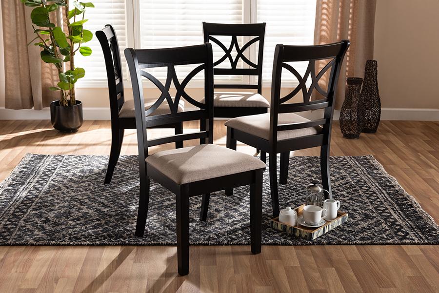 Clarke Sand Fabric Espresso Brown Wood 4-pc Dining Chair Set | Baxton Studio