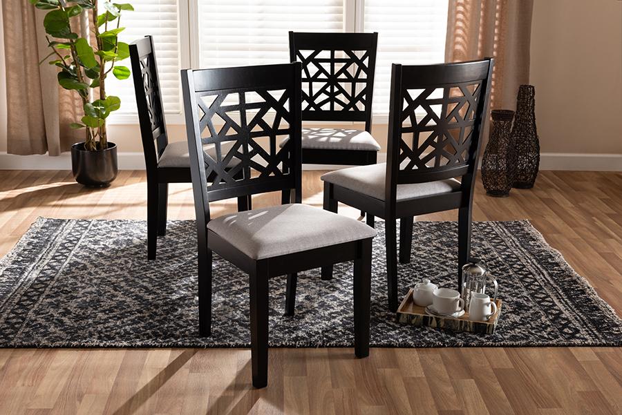 Jackson Grey Fabric Espresso Brown Wood 4-pc Dining Chair Set | Baxton Studio