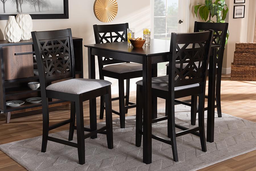 Devon Grey Fabric Espresso Brown Wood 5-pc Pub Dining Set | Baxton Studio