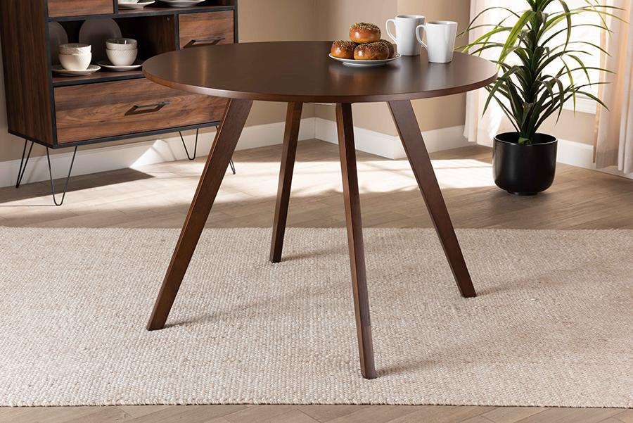 Alana Walnut Brown Round Wood Dining Table | Baxton Studio