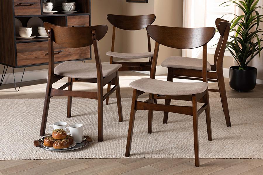 Parlin Light Beige Fabric Walnut Wood 4-pc Dining Chair Set | Baxton Studio