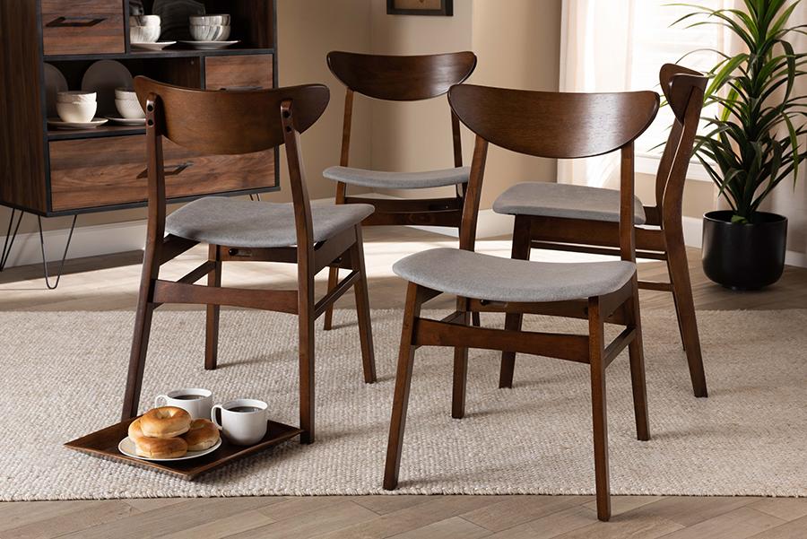 Parlin Light Grey Fabric Walnut Wood 4-pc Dining Chair Set | Baxton Studio