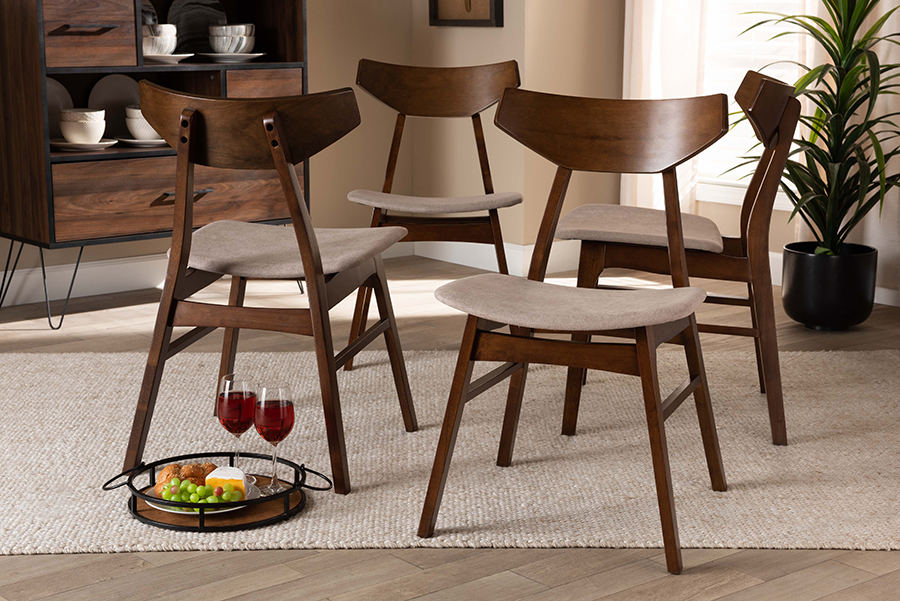 Danica Light Beige Fabric Walnut Wood 4-pc Dining Chair Set | Baxton Studio