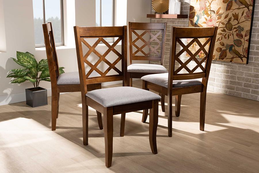 Brigitte Grey Fabric Walnut Wood 4-pc Dining Chair Set | Baxton Studio