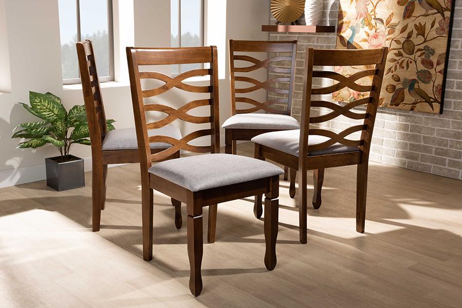 Elijah Grey Fabric Walnut Wood 4-pc Dining Chair Set | Baxton Studio