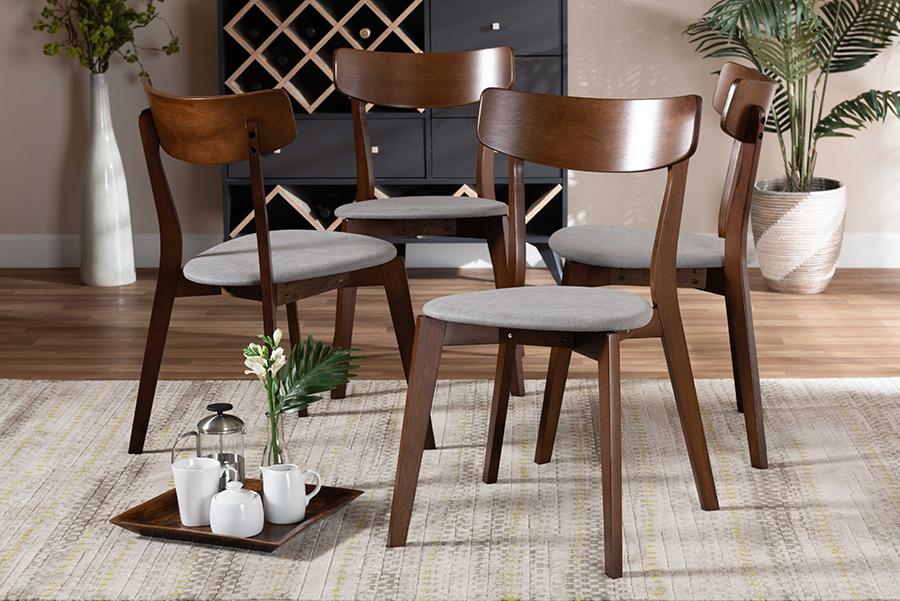 Iora Light Grey Fabric Walnut Wood 4-pc Dining Chair Set | Baxton Studio