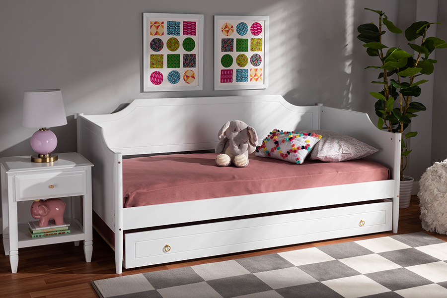 Alya White Wood Twin Daybed with Trundle   Baxton Studio