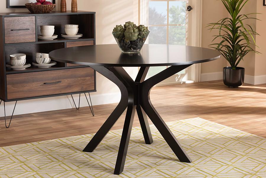 Kenji Dark Brown 48-inch Wide Round Wood Dining Table | Baxton Studio