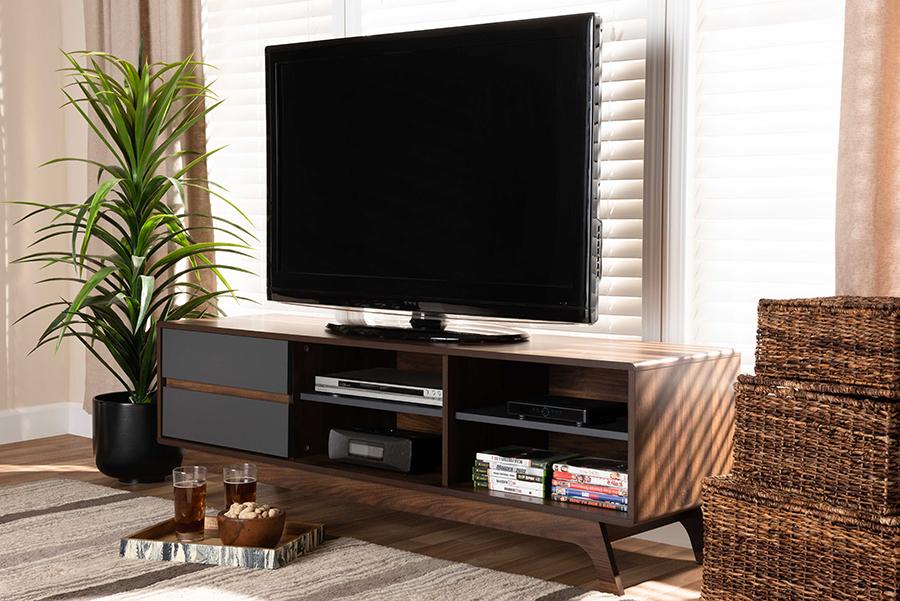 Koji Grey Walnut Wood 2 Drawer TV Stand | Baxton Studio
