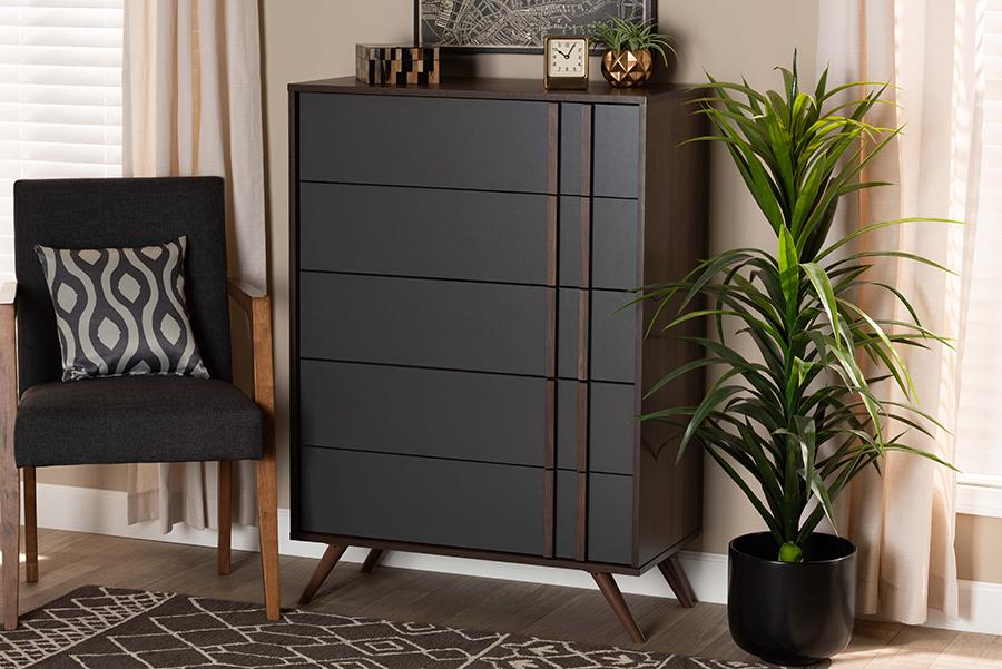 Naoki Grey Walnut Wood 5 Drawer Bedroom Chest | Baxton Studio