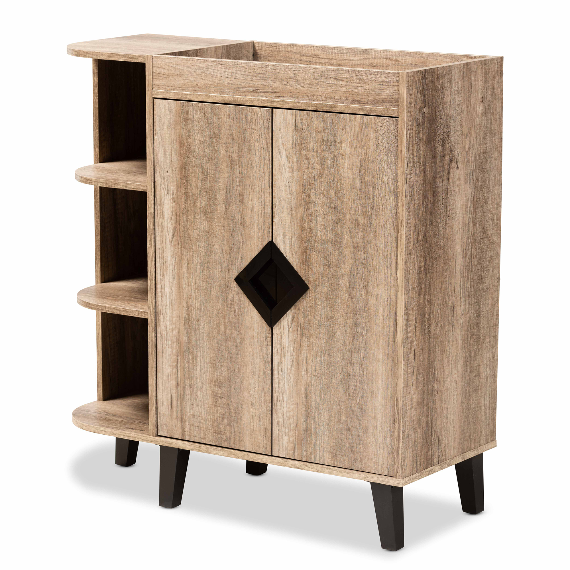 Baxton Studio Wales Particle Board Shoe Cabinet - Brown/Black