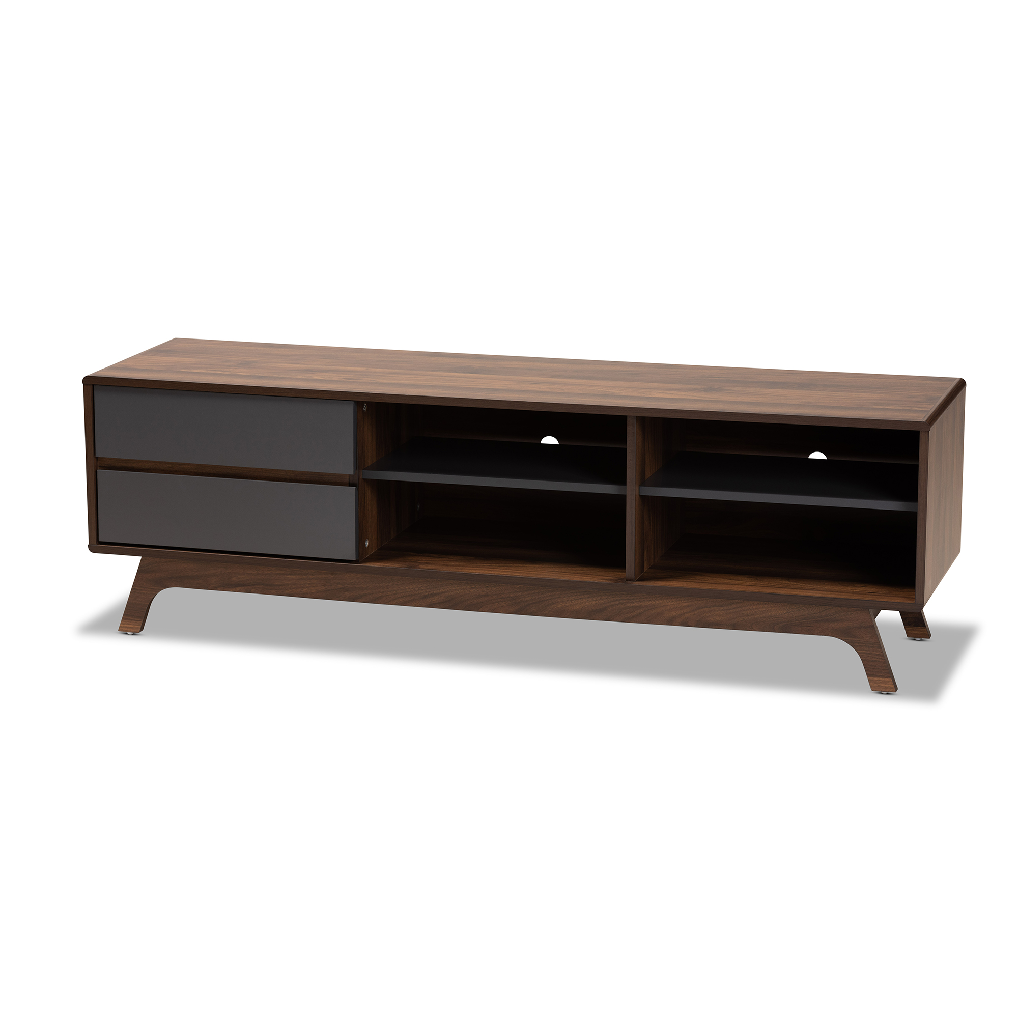 Baxton Studio Koji Particleboard TV Stand - Grey/Walnut