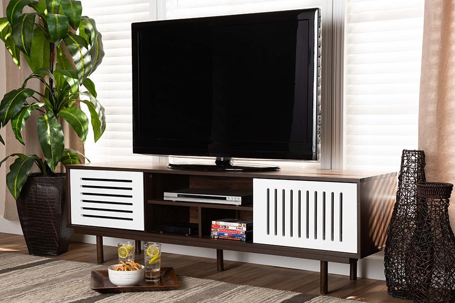 Meike Walnut Brown White Wood TV Stand | Baxton Studio