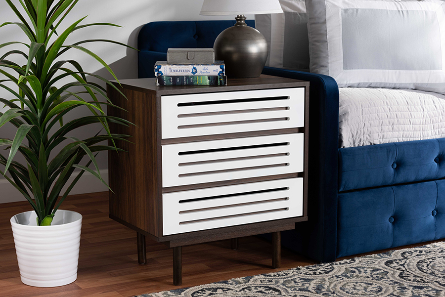 Meike Walnut Brown White Wood 3 Drawer Nightstand | Baxton Studio