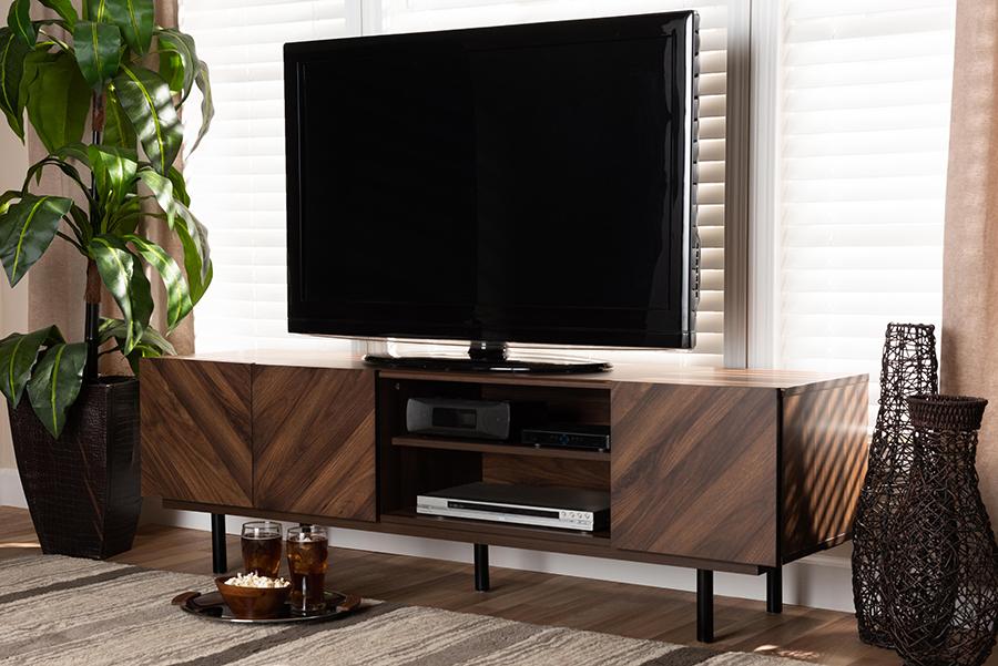 Berit Walnut Wood TV Stand | Baxton Studio