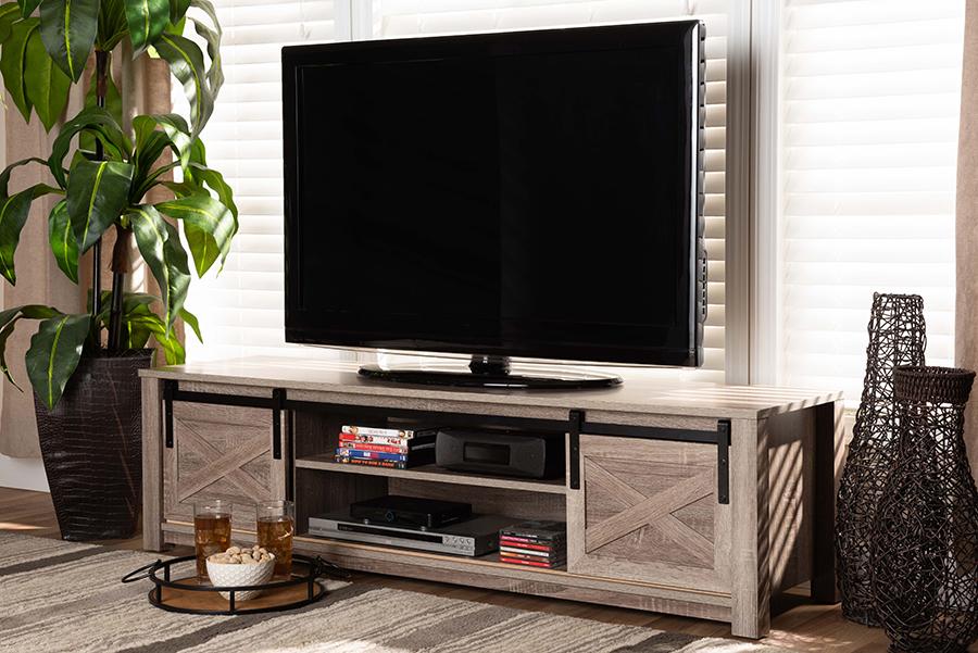 Bruna White Washed Oak TV Stand | Baxton Studio