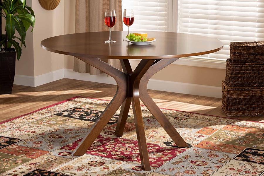 Kenji Walnut Brown 48-inch Wide Round Wood Dining Table | Baxton Studio