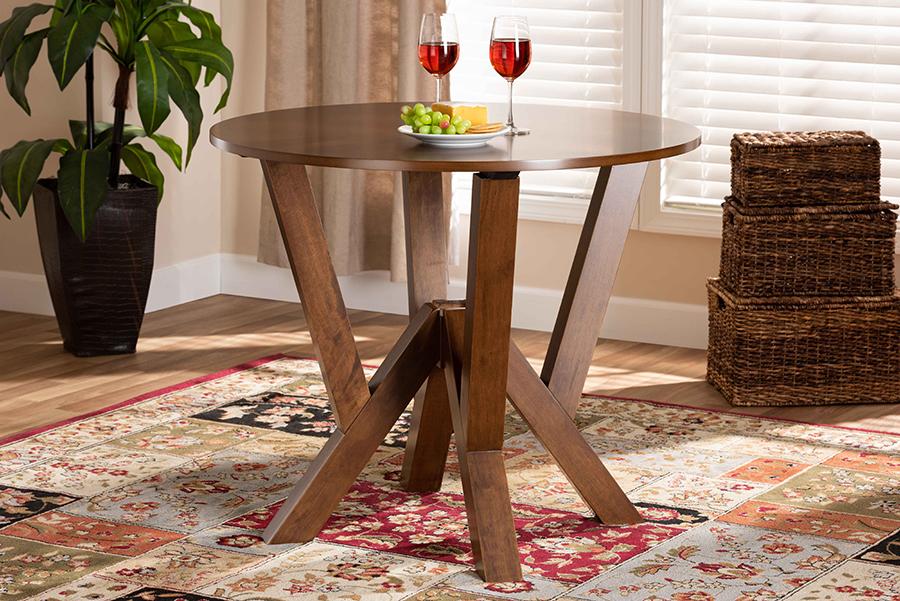 Irene Walnut Brown 35-inch Wide Round Wood Dining Table | Baxton Studio