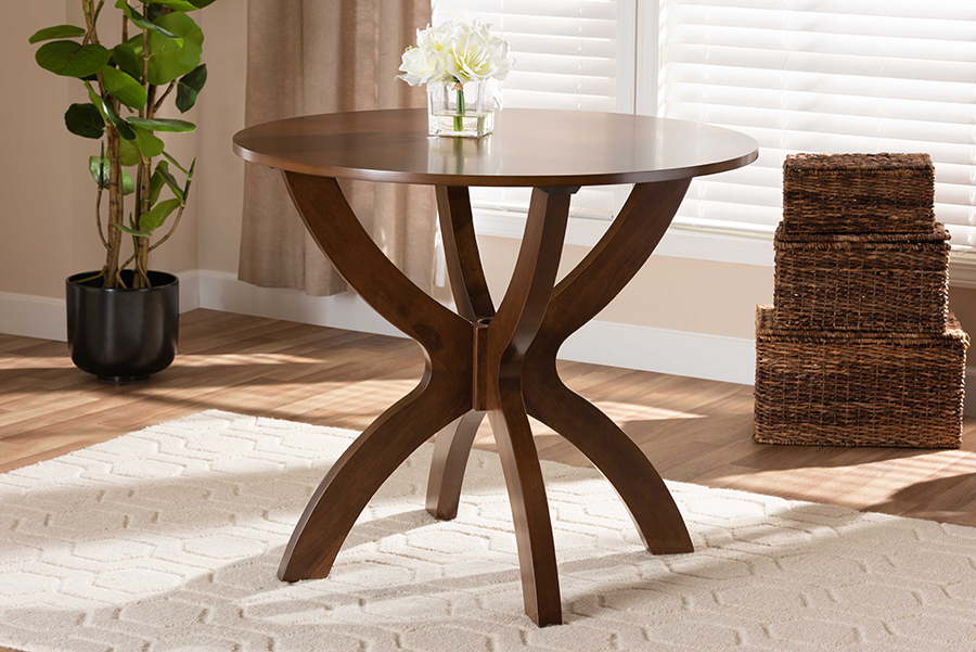 Tilde Walnut Brown 35-inch Wide Round Wood Dining Table | Baxton Studio