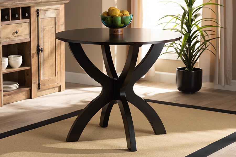 Tilde Dark Brown 35-inch Wide Round Wood Dining Table | Baxton Studio