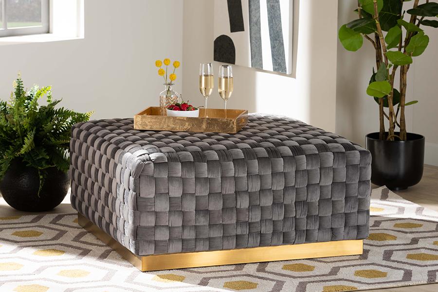 Noah Grey Velvet Fabric Gold Square Cocktail Ottoman | Baxton Studio