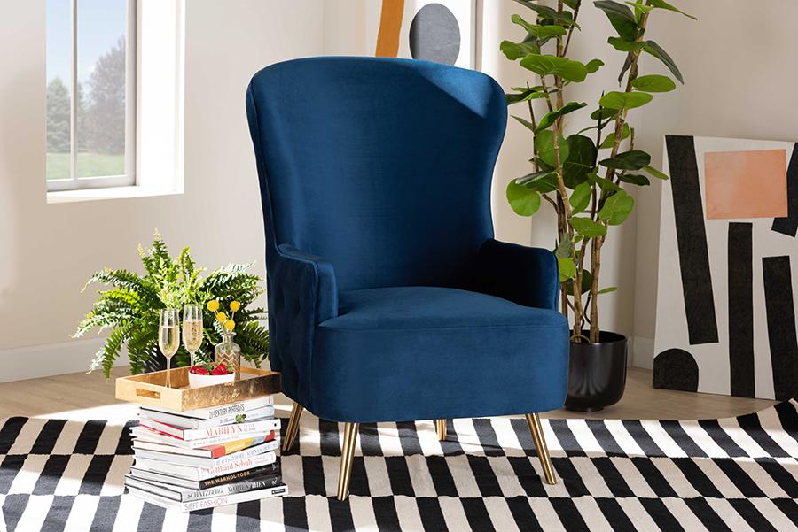 Melissa Royal Blue Velvet Fabric Gold Living Room Accent Chair | Baxton Studio