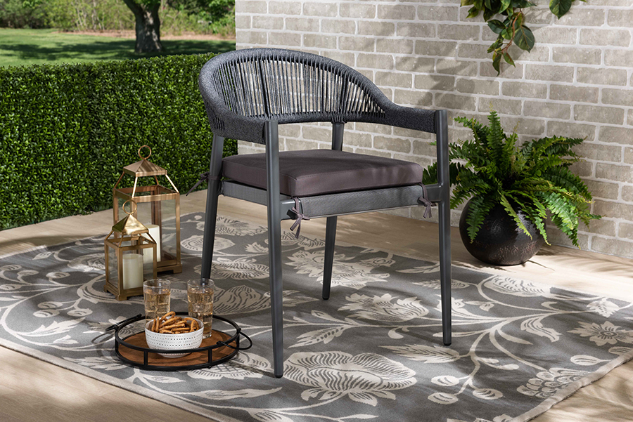 Wendell Grey Rope Metal Outdoor Dining Chair | Baxton Studio