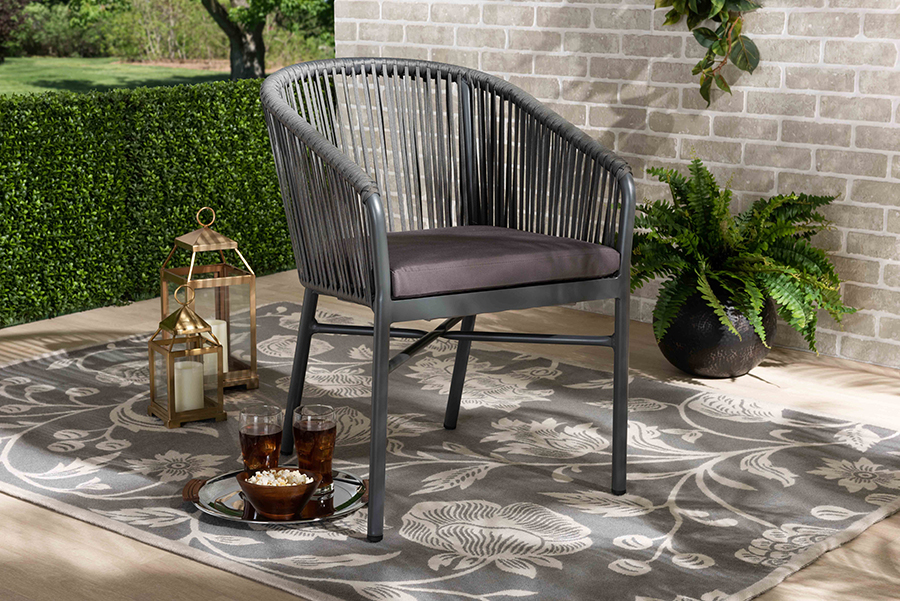 Marcus Grey Rope Metal Outdoor Dining Chair | Baxton Studio