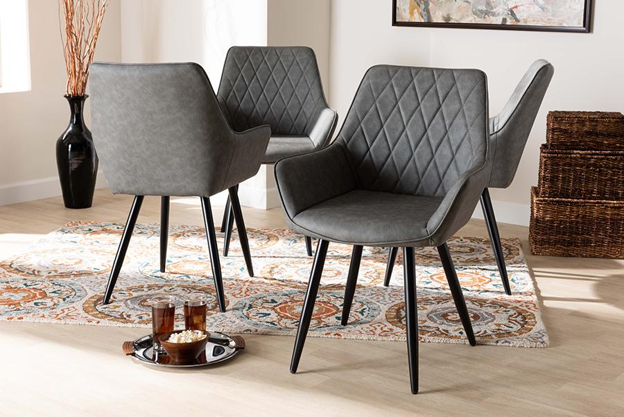 Astrid Grey Faux Leather Black Metal 4-pc Dining Chair Set | Baxton Studio