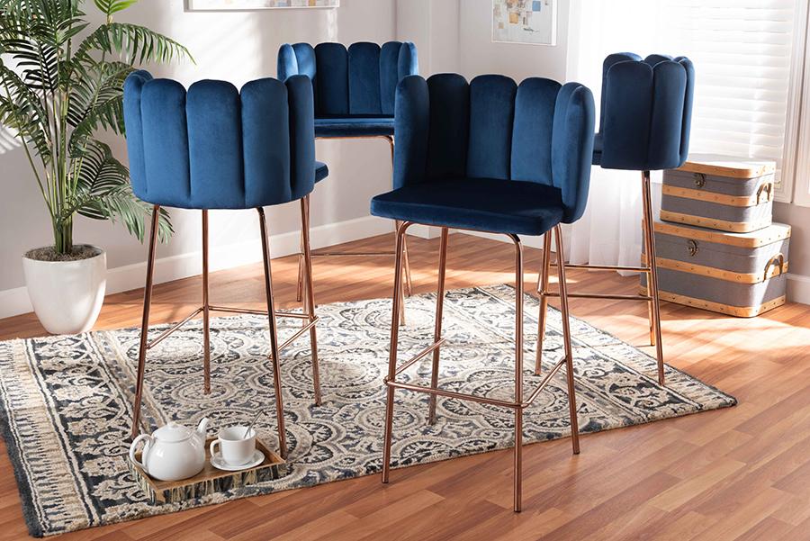 Kaelin Navy Blue Velvet Fabric Rose Gold 4-pc Bar Stool Set | Baxton Studio