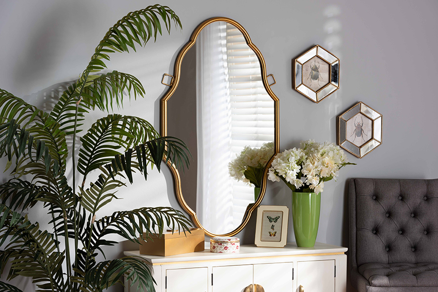 Dennis Antique Gold Accent Wall Mirror   Baxton Studio