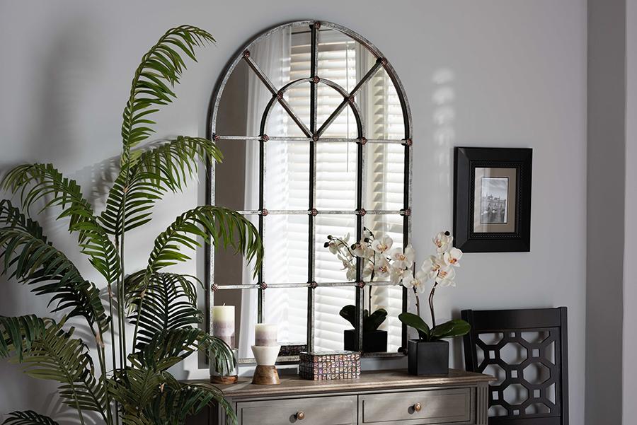 Newman Antique Silver Window Accent Wall Mirror   Baxton Studio