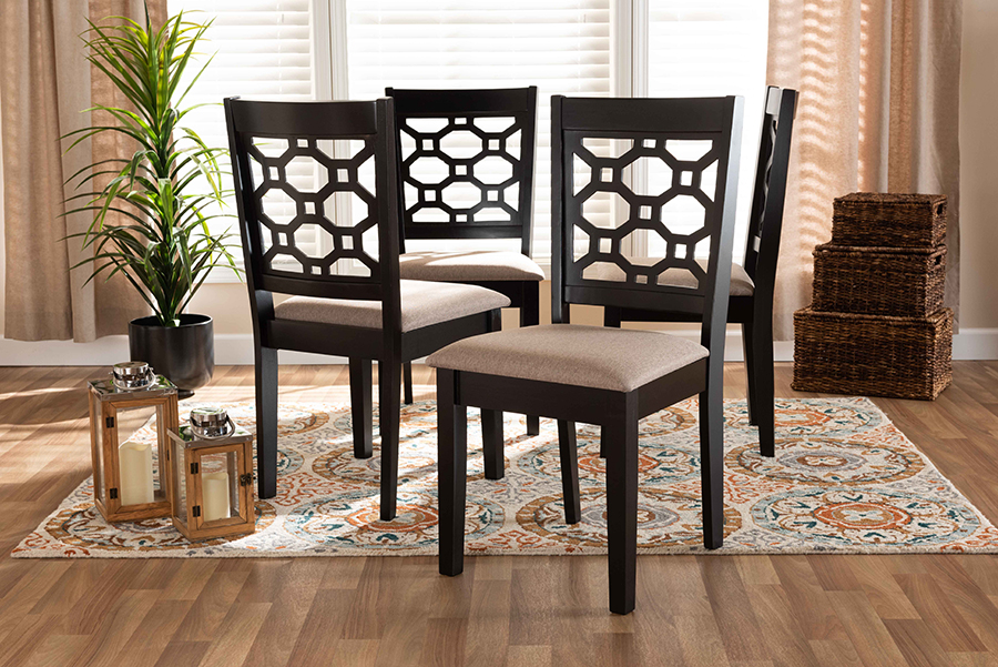 Peter Sand Fabric Dark Brown Wood 4-pc Dining Chair Set | Baxton Studio