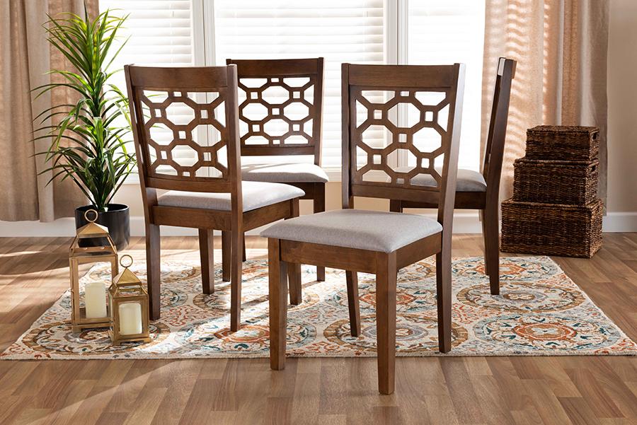 Peter Grey Fabric Walnut Wood 4-pc Dining Chair Set | Baxton Studio