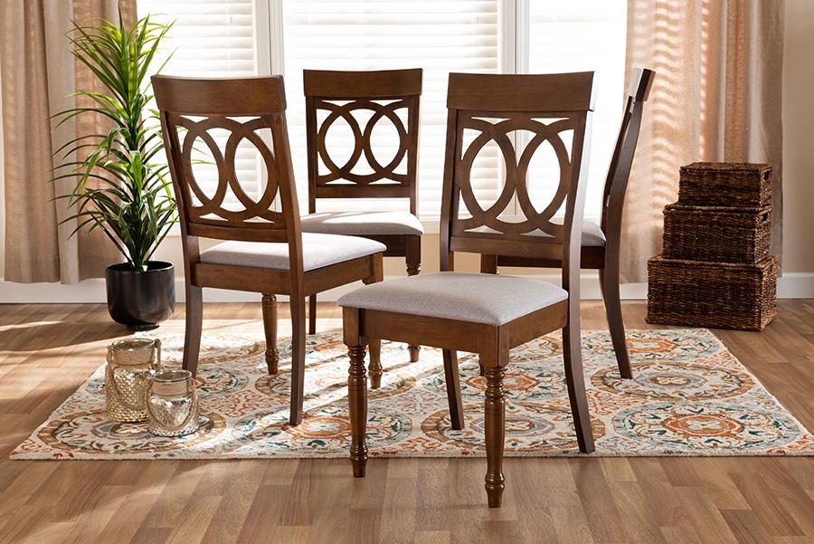 Lucie Grey Fabric Walnut Wood 4-pc Dining Chair Set | Baxton Studio