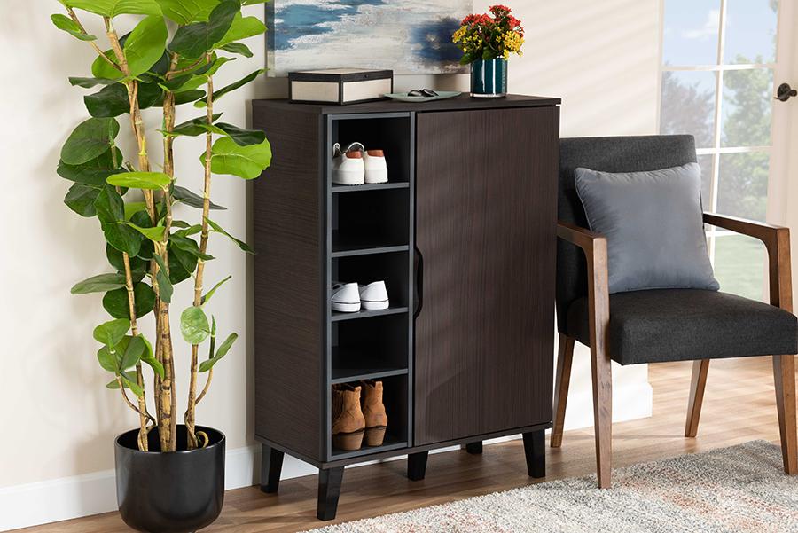 Idina Dark Brown Grey Wood 1 Door Shoe Cabinet | Baxton Studio