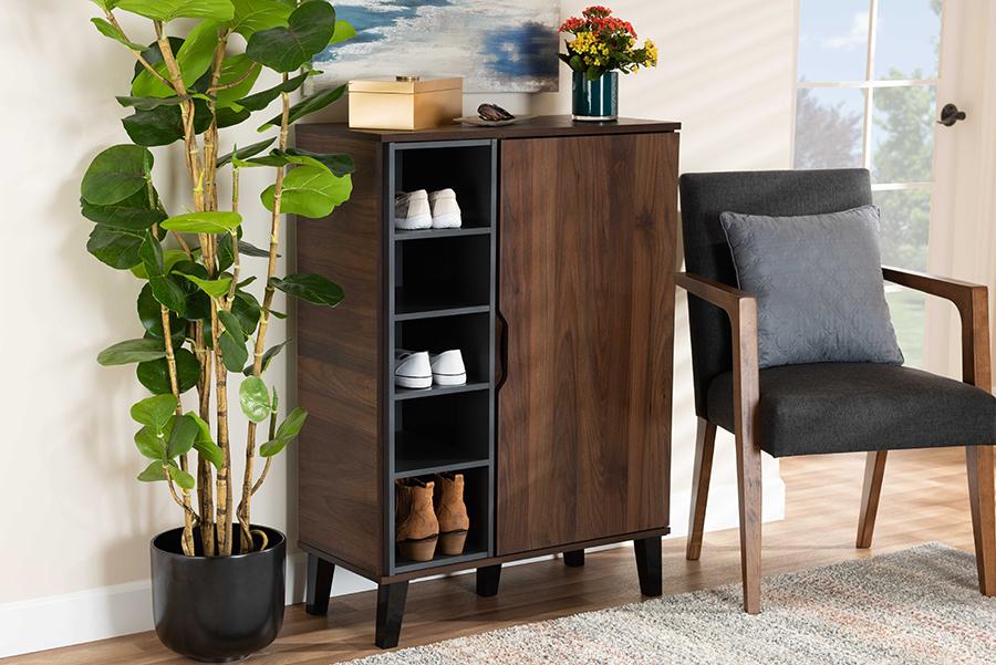 Idina Walnut Brown Grey Wood 1 Door Shoe Cabinet   Baxton Studio